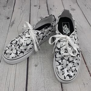 VANS Black & White Butterfly Shoes Size 6